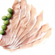Slice of ham and green olives, — Stock Photo