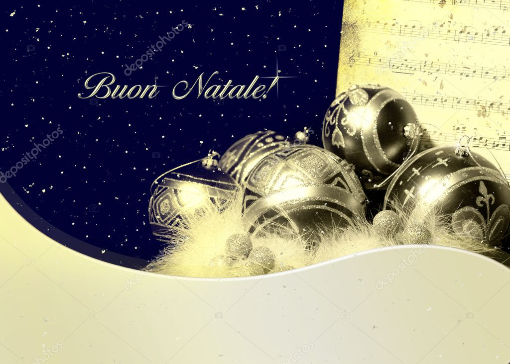 Christmas greetings with silver balls and music sheet in italian Language.  — Stock Photo #18241819
