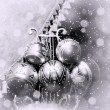 Christmas silver balls. - Stock Photo