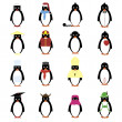 Set of 12 penguins. - Stock Vector
