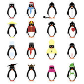 Set of 12 penguins. — Stock Vector
