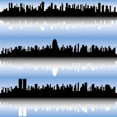Three abstract cityscapes. — Stock Vector