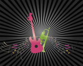 Guitar and trumpet on ray background. — Stock Vector