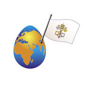 Planet Earth in the form of egg and emblem of the Vatican. — Stock Vector