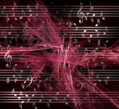 Musical notes on fractal background. — Stock Photo
