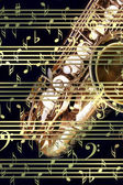 Music background with saxophone. — Stock Photo