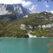 Molveno Lake, Dolomite mountains,Trent, Italy. — Stock Photo