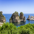 Famous rocks in Scopello, Sicily, Italy - Stock Photo