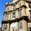 Stock Photo: ViglienSquare, Palermo, Italy - September 9, 2011. Old building decorated with statues in Palermo, Italy.