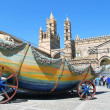 Stock Photo: Chariot of SantRosaliand Cathedral of Palermo, Italy - april 11, 2013.