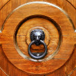 Knocker in the shape of lion on wooden door — Stock Photo