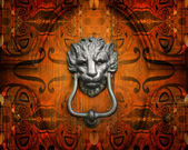 Knocker in the shape of lion. — Stock Photo