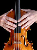 Violin and hand as a violinist. — Stock Photo