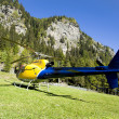Stock Photo: Helicopter on lawn in peyo Valley, Italy