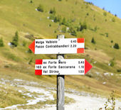 Road signs in Tonale Pass, Italy — Stock Photo