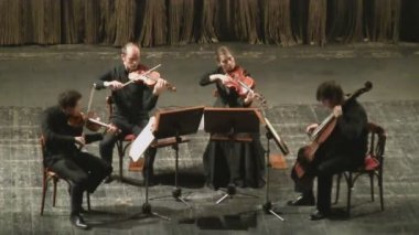 String quartet in concert. — Stock Video