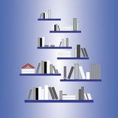 Libros sobre el fondo de estantes — Vector de stock