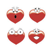 Four hearts of expression — Stock Vector