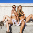 Two girls posing in swimsuit — Stock Photo