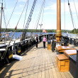 Tourist in ancient ship in Discovery Harbour in Penetanguishene, Canada. — Stock Photo #31932131