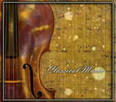 Classic cello with vintage textures and sheet music. — Stock Photo