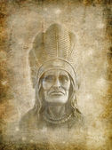 Native American on grunge background. — Zdjęcie stockowe