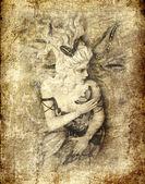 Fairy on grunge background — Stock Photo