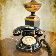 Vintage phone on grunge background — Stok fotoğraf