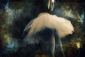 Ballerina with Tutu on grunge background (partial) — Stock Photo