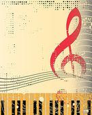 Tastiera di pianoforte e violino su sfondo grunge, illustrazione vettoriale — Vettoriale Stock