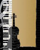 Violino e pianoforte tastiera sullo sfondo grunge, illustrazione vettoriale — Vettoriale Stock