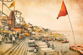 Varanasi, India, on grunge background — Stock Photo