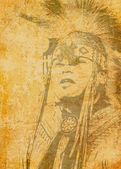 Native American on grunge background, illustration. — Stock Photo