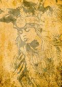 Amérindien sur fond grunge illustration. — Photo