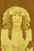 Native American portrait, illustration — Photo