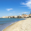 The beach of Cefalu Sicily, Italy. — Stock Photo