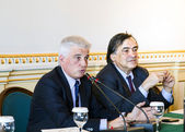 Palermo Italia - April 23, 2012 - Leoluca Orlando and Francesco Giambrone — Stock Photo