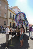 Pilgrims in the way to El Rocio in Seville, — Stock Photo