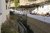 Wineries built into rock overhangs — Stock Photo