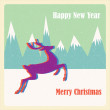 Christmas background with deer — Vecteur #16249495
