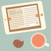 E-book and cup of tea — Stock Vector