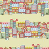 Vector seamless pattern with houses and buildings — Stock Vector
