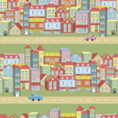 Vector seamless pattern with houses and roads — Stock Vector