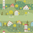 Seamless pattern with village and houses — Stock Vector