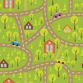 Padrão sem emenda colorida com ruas e estradas — Vetorial Stock
