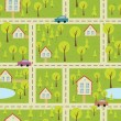 Seamless pattern with light asphalt and houses — Stockvektor