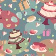 Festive seamless background with sweets — Stock Vector