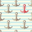 Anchor in a seamless pattern — Stock Vector