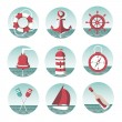 Stock Vector: Icons on marine theme