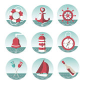 Icons on the marine theme — Stock Vector